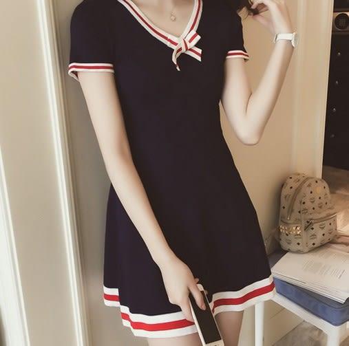EASON SHOP(GU6257)紅白條蝴蝶結中長款V領短袖針織裙連身裙彈力貼身女短袖洋裝女上衣服藏藍色韓版