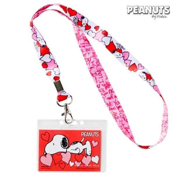 日本限定 SNOOPY 史努比 愛心滿版 掛繩頸帶 票卡夾 / 識別證 卡套