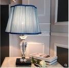 110V-220V 臥室床頭燈 簡約現代 高檔時尚LED布藝藍色水晶檯燈--不送燈泡