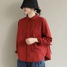 純棉翻領長袖襯衫 純色下擺抽繩單排扣上衣/2色-夢想家-0111