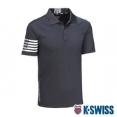 K-SWISS Solid W/Print Polo排汗POLO衫-男-黑