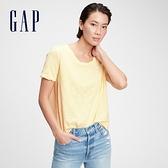 Gap女裝 純棉基本款打底短袖T恤 884314-淡黃色