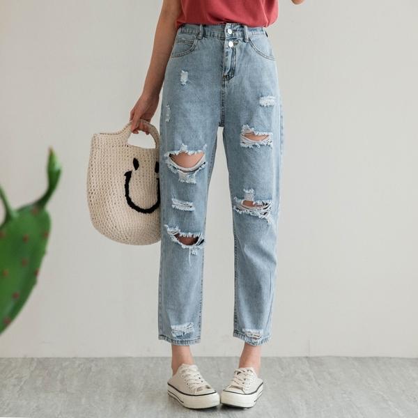 現貨-MIUSTAR 腰鬆緊雙釦刷破造型牛仔褲(共1色,S-XL)【NJ1699】