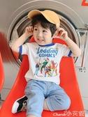 兒童T恤男童短袖T恤2020夏裝新款童裝男寶寶撞色圓領體恤兒童卡通上衣夏 小天使