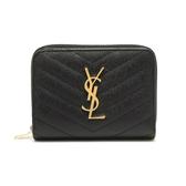 YSL Monogram 金色Logo 魚子醬牛皮V字縫線拉鍊暗扣短夾 黑色