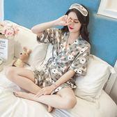 睡衣女夏季韓版清新學生短袖純棉冰絲可愛和服家居服兩件套裝日式「韓風物語」