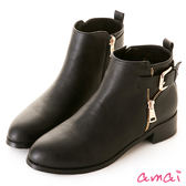 amai皮帶釦飾金屬拉鏈造型短靴 黑
