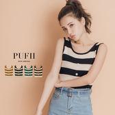 (現貨-黑)PUFII-針織背心 條紋假排釦坑條針織背心 3色-0426 現+預 春【CP14477】