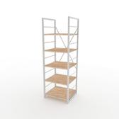 (組)特力屋萊特五層架白框/淺木紋-40x40x128cm