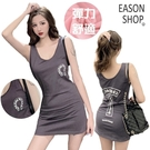 EASON SHOP(GQ0224)實拍純色塗鴉個性字母印花彈力貼身U領無袖吊帶工字背心包臀連身裙女短裙一步裙