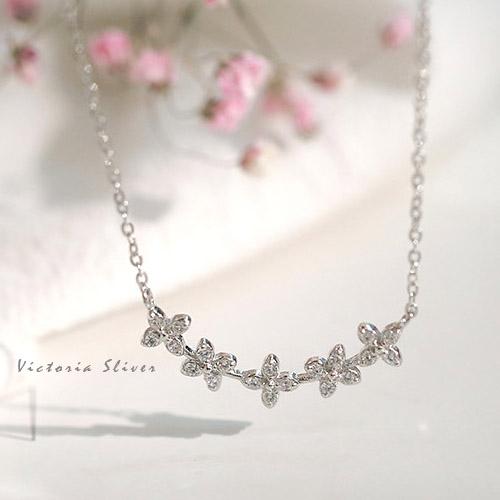 S925純銀 優雅高雅滿鑽花朵項鍊-維多利亞180647