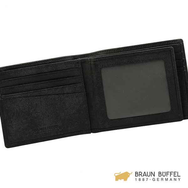 【BRAUN BUFFEL】阿梅爾-R系列12卡中間翻短夾 -黑色 BF336-R317-BK