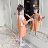 女童T恤 女童中長款T恤2020年新款夏裝大童裝兒童夏季短袖純棉上衣洋氣女【快速出貨】