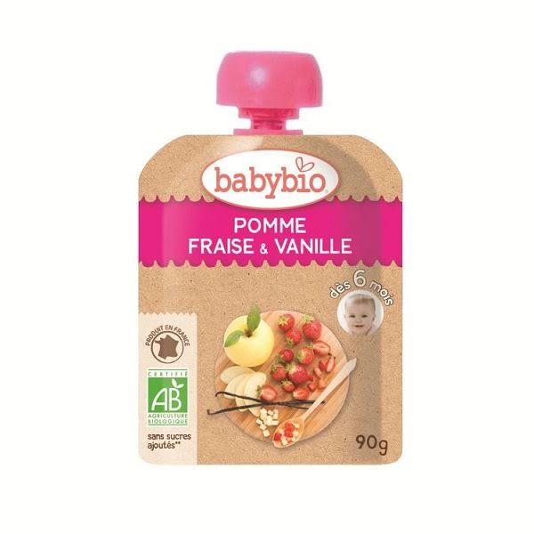 BABYBIO 有機蘋果草莓果纖果泥90g-法國原裝進口6個月以上嬰幼兒專屬副食品