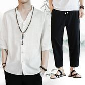 中國風唐裝亞麻套裝男佛系漢服民族服裝復古風道袍和服茶服兩件套 熊貓本