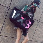 大包包新款女包韓版潮包帆布包女單肩包大容量手提購物袋單肩包  卡布奇諾