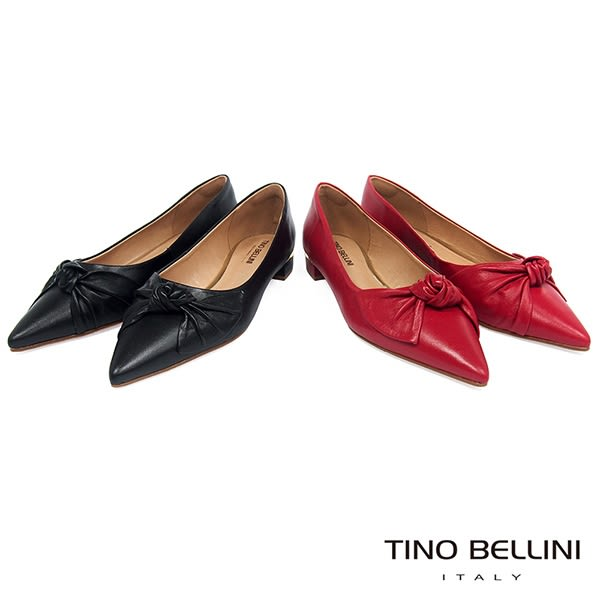 Tino Bellini 巴西進口皮革紐結尖楦微跟包鞋 _ 紅 TF8524 歐洲進口款