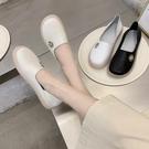 2021單鞋女春新款真皮平底一腳蹬樂福鞋孕婦鞋軟底防滑小白鞋繡花寶貝計畫 上新