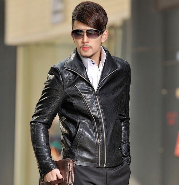 卡樂store...男皮衣精品專櫃保暖特級PU皮革 立領修身 4色 黑色 M-4XL #ab3069