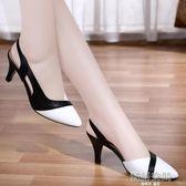 百麗 晶客2019新款真皮包頭涼鞋女夏天中跟細跟高跟鞋子尖頭女鞋  韓語空間