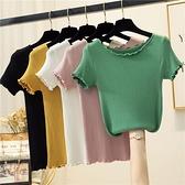短袖針織衫 冰絲上衣打底衫2021夏季新款韓版緊身純色木耳邊針織短袖T恤女裝 伊蘿 99免運