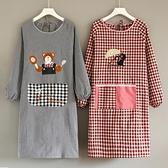 圍裙純棉長袖廚房家用女防油防污日系罩衣【聚寶屋】