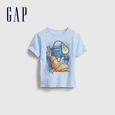 Gap男幼童 布萊納系列 可愛純棉印花短袖T恤 681424-淺藍色