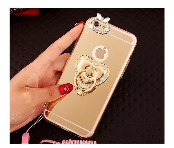 心型 水鑽 手機 指環扣 支架 iphone 7 7plus 6 6S plus 三星 電鍍 支架 手機殼 軟殼 指環扣 保護套 2018
