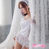 性感睡衣組~細肩帶甜美白色情趣睡衣含頭紗手套~流行E線A7107