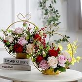 母親節 家居擺件 仿真花套裝假花絹花客廳擺設鐵藝花籃母親節禮物創意 母親節禮物