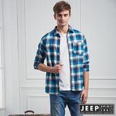 【JEEP】經典格紋長袖襯衫(藍色)