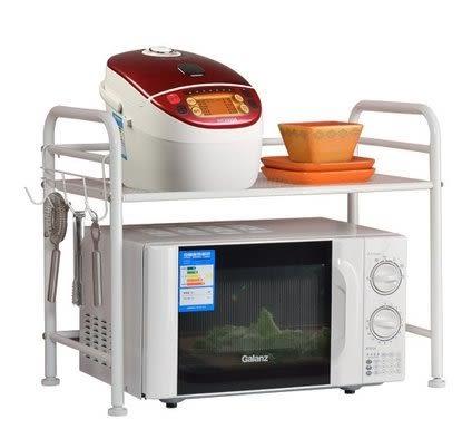小熊居家家用廚房微波爐架置物架 層架收納架儲物架廚具鍋架微波爐架子  象牙白特價