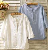 春夏棉麻女裝襯衫七分袖亞麻盤扣長袖寬鬆民族風短袖T恤上衣   芊惠衣屋