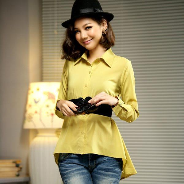 修身顯瘦單排釦寬版長袖襯衫(送腰帶)-美之札