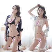 蕾絲透視綁帶三點式雪紡透明睡袍大碼情趣內衣套裝女睡衣7726  完美情人精品館