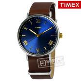 TIMEX 天美時 / TXTW2R28700 / 美國指標復古羅馬真皮手錶 藍x深咖啡 41mm