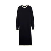 大碼洋裝 大碼女裝秋冬裝胖mm顯瘦遮肚長袖黑色針織連身裙子法式 芊墨 618大促