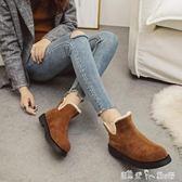 雪地靴女韓版厚底內增高保暖棉鞋加絨短靴子女冬季學生毛毛鞋  潔思米
