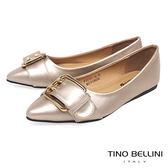 Tino Bellini 雙孔皮帶飾釦尖頭娃娃鞋_ 香檳金 F83001