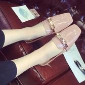 歐美甜美懶人涼拖方頭淺口包頭半拖鞋女新款粗跟中跟半拖涼鞋女夏 瑪麗蘇