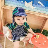 館長推薦☛韓國ins潮款兒童泳衣男童寶寶條紋泳衣 連體小童男嬰兒防曬沖浪服