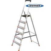 美國Werner穩耐安全鋁梯-L236R-2 鋁合金大平台6階家用梯/A字梯