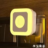 小夜燈 led人體感應燈床頭小夜燈衣櫃樓梯燈衛生間走廊過道燈家用插座燈 摩可美家