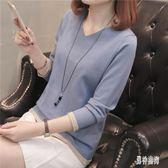 針織衫女2019新款春裝韓版早春套頭短款針織上衣女修身V領百搭毛衣打底衫 QX326『男神港灣』
