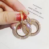 耳環女 925銀針水鑽圓圈長款耳環氣質韓國個性百搭耳墜歐美夸張耳釘女 芭蕾朵朵