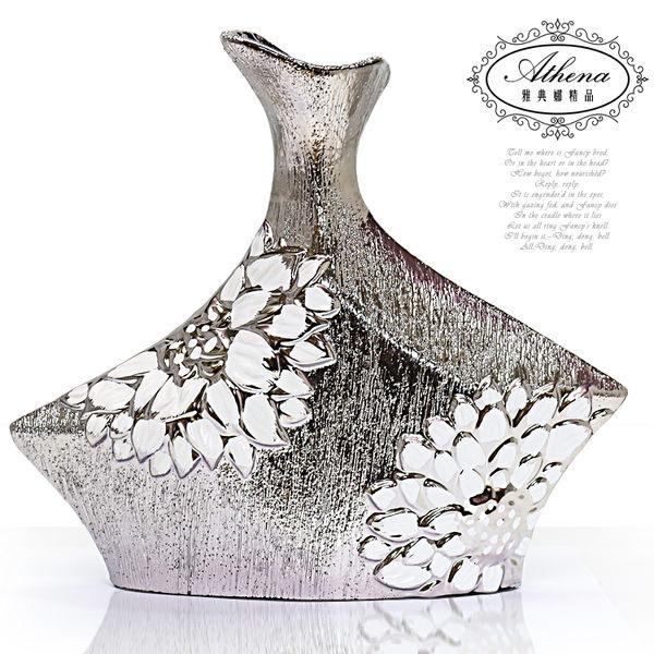 【雅典娜家飾】白薔薇不規則五角形陶瓷髮絲紋鍍銀花器-FB324