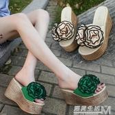 拖鞋女夏外穿新款時尚厚底楔形高跟一字拖鞋厚底防滑花朵沙灘涼拖 遇見生活