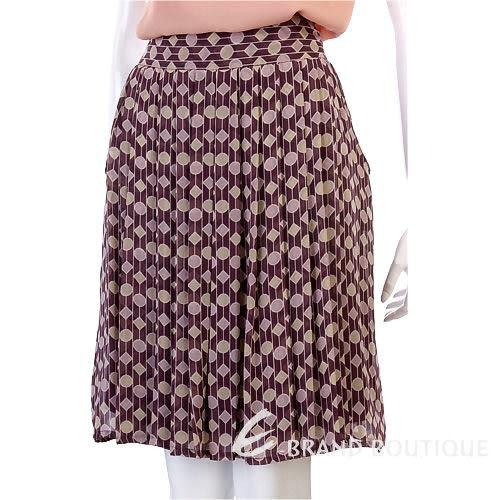 GUY ROVER 紫紅色幾何圖形紗質及膝裙 0740084-A8