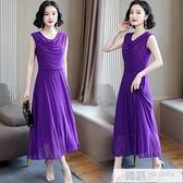 無袖褶皺網紗洋裝女2020新款夏裝收腰顯瘦遮肚大碼長款氣質裙子 夏季新品