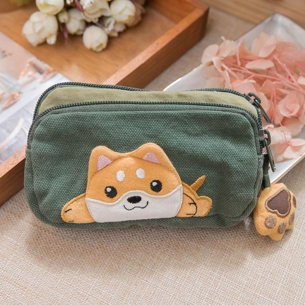 Kiro貓‧柴犬寶寶 雙層 拉鍊 零錢包/收納包【810073】